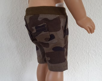 "Camo shorts with side  and back pockets for 18""  Boy Doll-  Boy Doll clothes -  doll shorts - boy  shorts"
