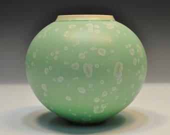 Light Green Matte Crystalline Pottery Bottle