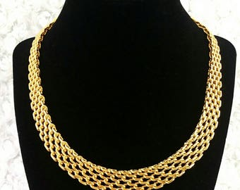 Vintage 1960s Egyptian Revival Monet Cleopatra Style Panther Link Adjustable Choker Chain Necklace Like New