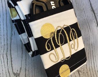 Photography Accessory Camera Strap Cover -Padded DSLR Camera Strap Cover, Photography Gift, camera accessories -Gold Dot Blk/wht stripes