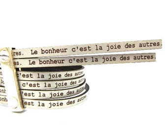 5 mm flat leather silver with a message of happiness is the joy of others, 59 cm