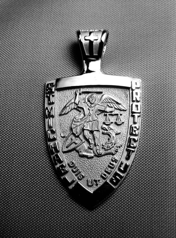 St michael medal 14k white gold archangel pendant police aloadofball Gallery