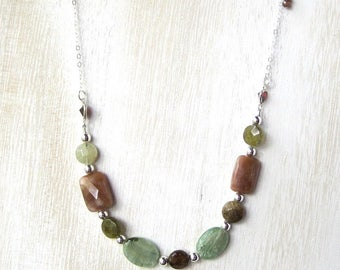 Garnet Gemstone Necklace, Grossular Garnet Coin Beads, Faceted Sunstone and Green Kyanite Ovals. Sterling Silver Chain, Fashion Jewelry