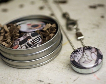 Abstract industrial Necklace - Interchangeable Magnetic Locket by Polarity and Sandra Mucciardi