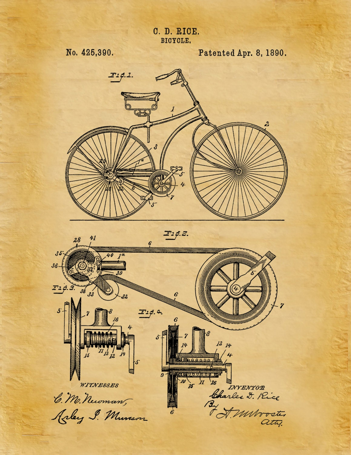 Patent 1890 Bicycle Belt and Pulley - Art Print Poster Wall Art ...