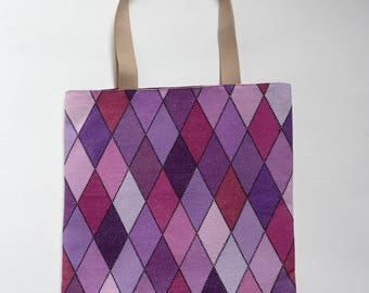 Cross stitch embroidered Harlequin tote bag