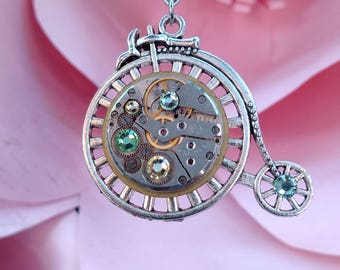Penny-farthing Big Wheel Victorian Bicycle Steampunk Watch Pendant