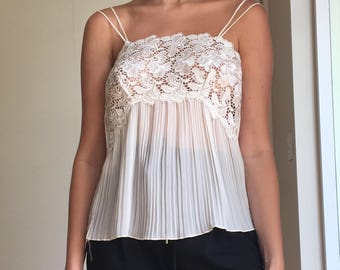 Vintage white lace pleated camisole, S
