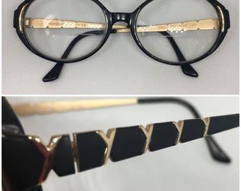 YSL Yves Saint Laurent Vtg Glasses Black + Gold
