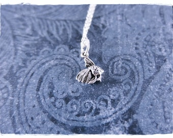 Tiny Betta Fish Necklace - Sterling Silver Betta Fish Charm on a Delicate Sterling Silver Cable Chain or Charm Only