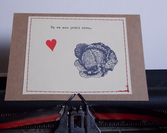 Funny Love Card Tu Es Mon Petit Chou  French Card