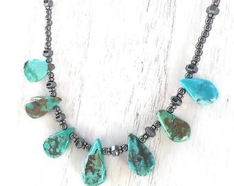 Genuine Turquoise Gemstone Necklace, Hematite Gemstones