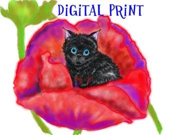 Printable Wall Art//Digital Art Print - Spookie in the Flower #3