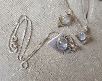 Sterling Silver Mooonstone Necklace and Earring Set