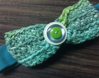 Green and Blue Marbled Stacked Button Bow