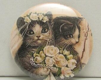 Wedding Cats Pocket Mirror, Bride and Groom Cat Pocket Mirror, Wedding Cats Purse Mirror, Cat Compact Mirror, Bridal Gift, Wedding Shower