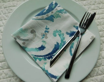 NEW ITEM:  Set of 6 double-sided napkins---one side home dec fabric-reverse side quilt weight fabric