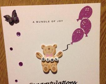 Handmade Newborn Baby Girl Card With Bear Holding Balloons