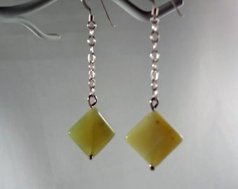 Yellow Jade Dangle Earrings (LVE48)