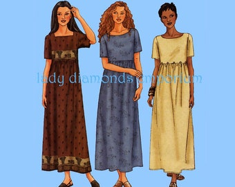 Butterick 6931 Womens Loose-Fitting Raised Waist Pullover A-line Maxi Dress size 8 10 12 Fast & Very Easy Sewing Pattern Uncut FF