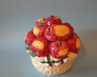 COOKIE JAR ~   Apples!   A basket full of red apples with golden tops