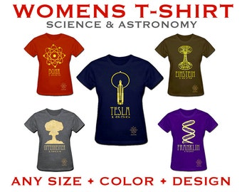 Womens Science Tshirt -  Rock Star Scientist Shirt - Educational Geeky Steampunk Illustration, STEM Scientific Artwork, Graphic Tee