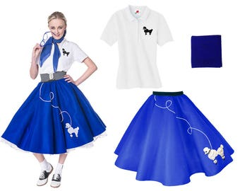 3 pc 50's Adult POODLE SKIRT Outfit-(S-XL)