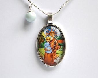 Vintage jewelry locket necklace saint francis necklace st francis necklace saint francis of assisi pendant jesus pendant jesus necklace saint pendant saint jewelry aloadofball Choice Image
