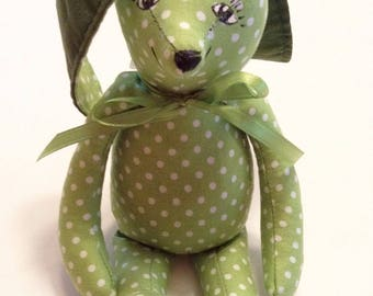 "Bunny, Plush Stuffed Bunny, Soft Bunny,  Tiny Bunny, 8 1/2"" Tall, Bunny Rabbit, Handmade Bunny,Baby Nursery,Cuddly Bunny,Birthday Gift Z143"