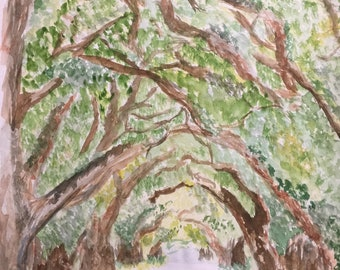 Original Watercolor Painting South Boundary Avenue Aiken South Carolina 9 x 12