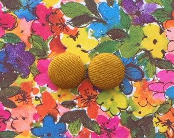Button Earrings / Solid Colors / Fabric Covered / Mustard Yellow / Wholesale Jewelry / USA Made / Small Gifts for Her / Stud Earrings