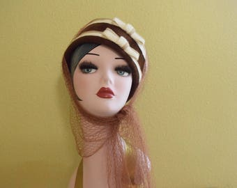 1940's Bucket Hat with attached Scarf Veil | Pillbox with Head Scarf