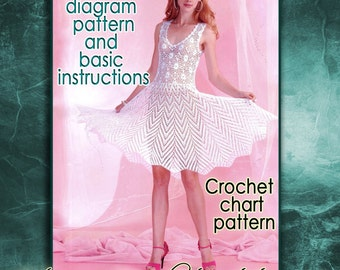 Crochet diagram etsy instant download white dress crochet pattern english crochet diagram and basic instructions symbols ccuart