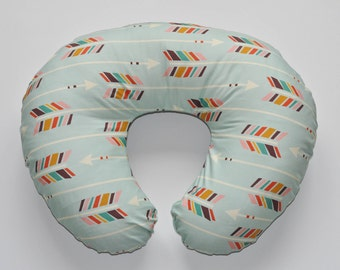 Nursing Pillow Cover Mint Arrows. Nursing Pillow. Nursing Pillow Cover. Minky Nursing Pillow Cover. Arrow Nursing Pillow Cover.