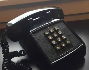 Vintage push button phone black