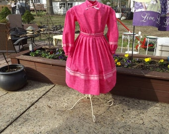Girls Size 8 Civil War Dress Pink Swirl Print Reenacting Dress
