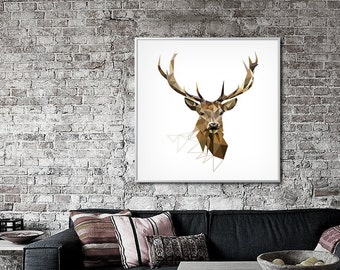 Large Art Print, Deer Print, Geometric Print, Deer Art, Deer Decor, Large Wall Art, Wall Decor, Woodland Wall Decor, Animal art
