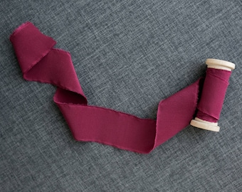 Burgundy Wine Silk Ribbon; 100% Silk; Wedding bridal bouquet, invitations, wedding favors, wedding photography styling