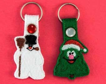 Frosty the Snow Man and Happy Christmas Tree inspired Keychain Fob Accessory Set of Two, unique gift, gift under 10, stocking stuffer