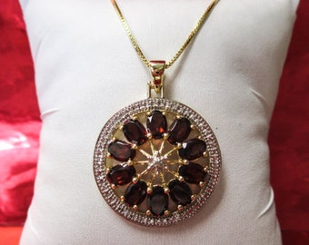 ONE STERLING Silver Gold Plated Necklace with Garnet and Diamond Stones