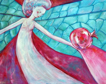 Original painting WOMAN DRAGONFLY with magic pomegranate oil on canvas gift idea modern artwork home decor