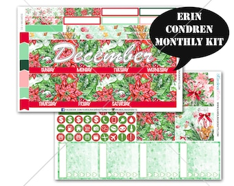 CHRISTMAS Stickers MONTHLY Planner Kit, for Erin Condren Planner, Life Planner Sticker, Monthly Sticker Kit, December planner #SQ00186-Ec