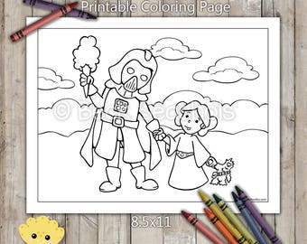 Darth Vader and Princess Leia Printable Coloring Page