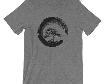 Bonsai Tree Shirt with Zen Circle for Bonsai Tree Lovers Japanese Calligraphy Buddhist | Funny Tee Gifts