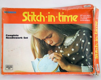 Vintage craft kit Stitch-in-time needlework set by Berwick Toy, not complete