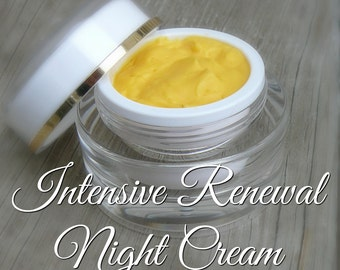 Intensive Renewal Night Cream, Made With All Natural And Organic Oils. Regenerate Skin Cells, Restore Elasticity And Minimize Wrinkles!