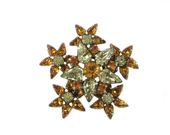 Topaz Crystal Star Flower Brooch