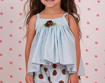 Blue Swing Top with Ruffled Shorts