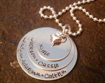 SALE!!! Personalized hand stamped mother's or grandmother's necklace with heart charm