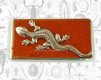 Money Clip Lizard Inlaid in Hand Painted Enamel Copper Glossy Finish Custom Colors and Personalized Options